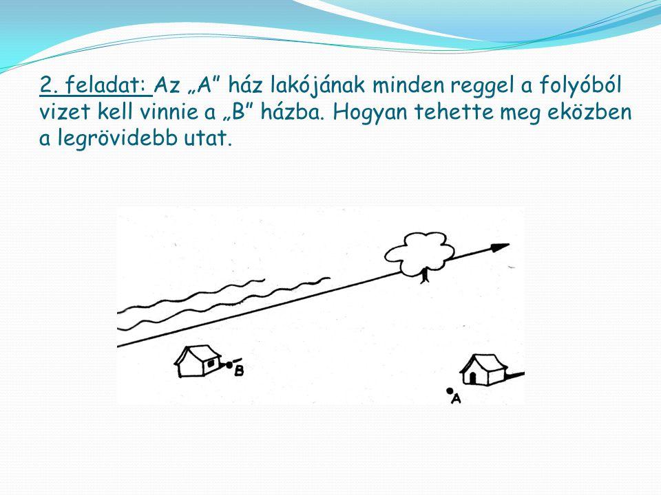 """2. feladat: Az """"A"""" ház lakójának minden reggel a folyóból vizet kell vinnie a """"B"""" házba. Hogyan tehette meg eközben a legrövidebb utat."""