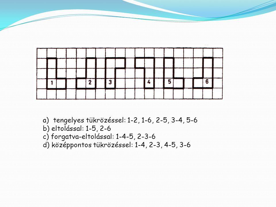 a)tengelyes tükrözéssel: 1-2, 1-6, 2-5, 3-4, 5-6 b) eltolással: 1-5, 2-6 c) forgatva-eltolással: 1-4-5, 2-3-6 d) középpontos tükrözéssel: 1-4, 2-3, 4-