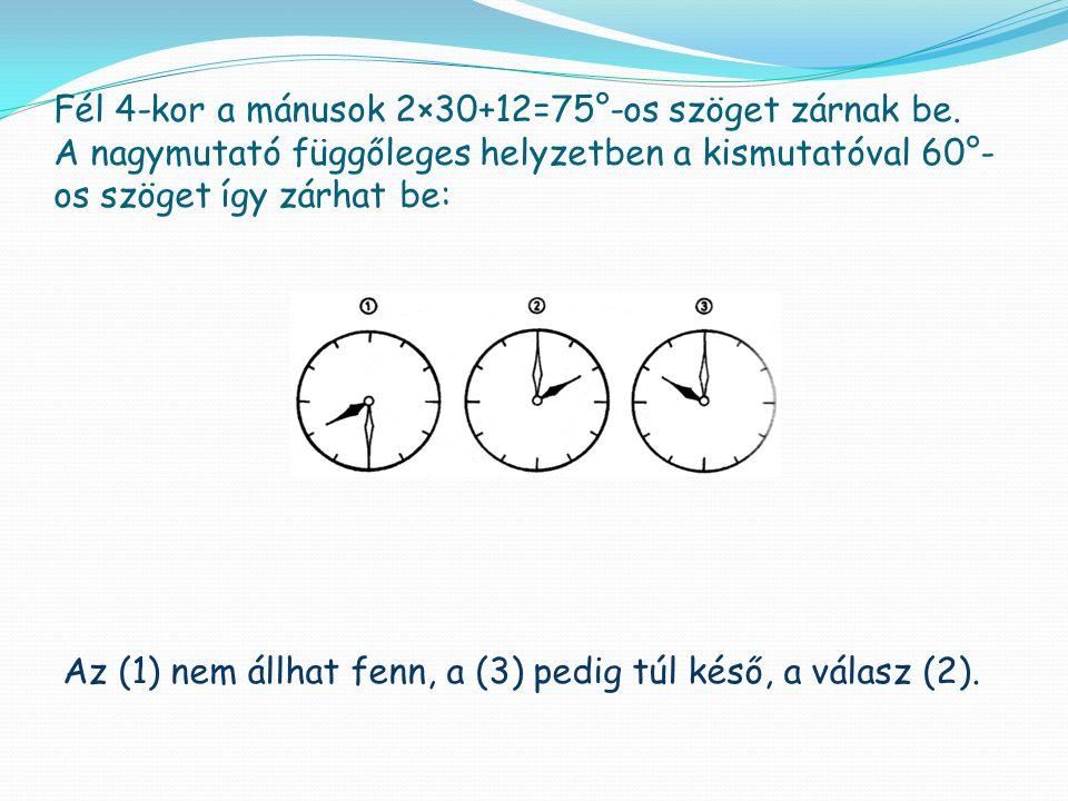 Fél 4-kor a mánusok 2×30+12=75°-os szöget zárnak be. A nagymutató függőleges helyzetben a kismutatóval 60°- os szöget így zárhat be: Az (1) nem állhat