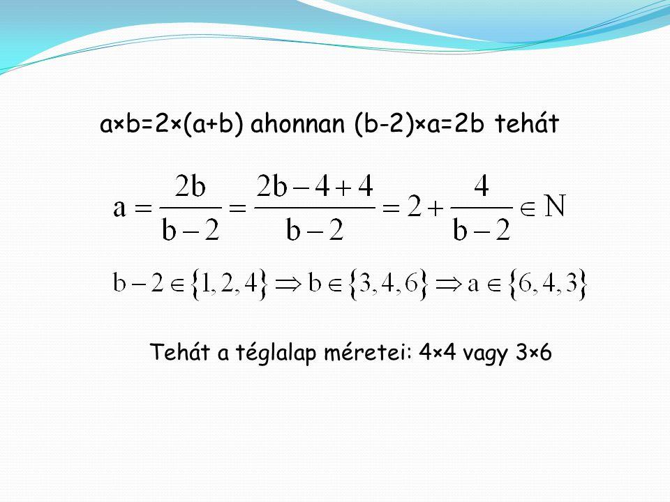 a×b=2×(a+b) ahonnan (b-2)×a=2b tehát Tehát a téglalap méretei: 4×4 vagy 3×6