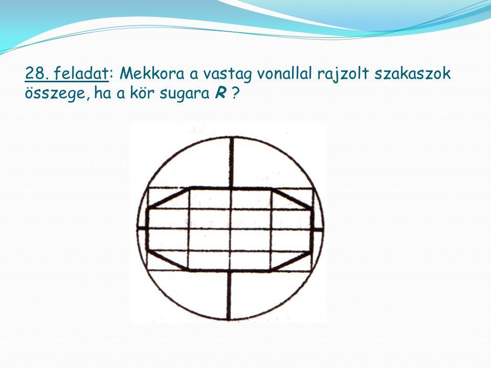 28. feladat: Mekkora a vastag vonallal rajzolt szakaszok összege, ha a kör sugara R ?