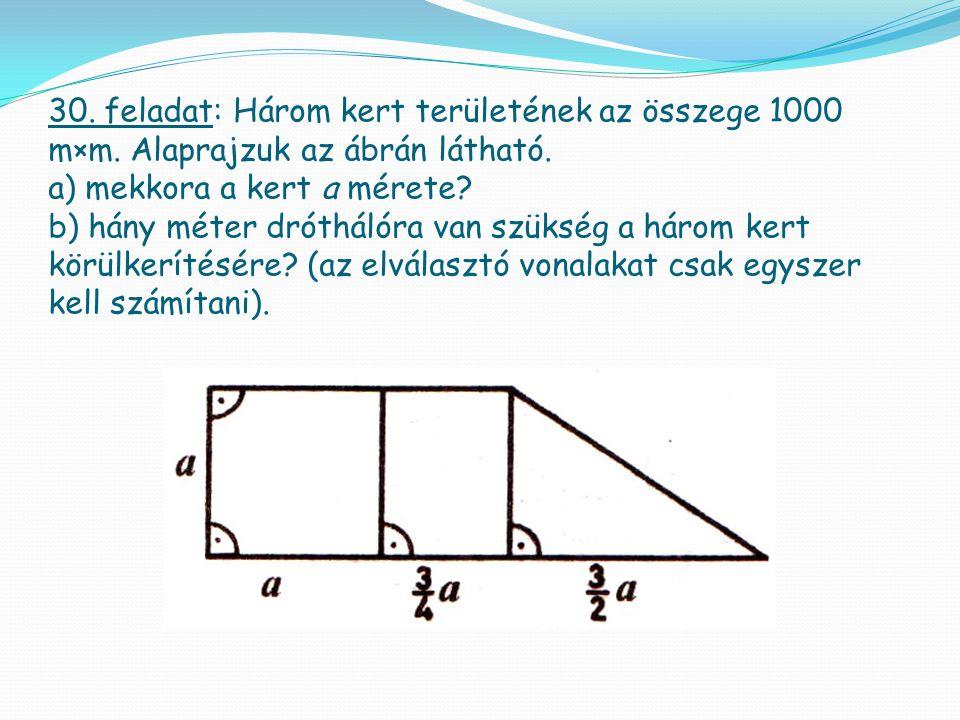30. feladat: Három kert területének az összege 1000 m×m. Alaprajzuk az ábrán látható. a) mekkora a kert a mérete? b) hány méter dróthálóra van szükség