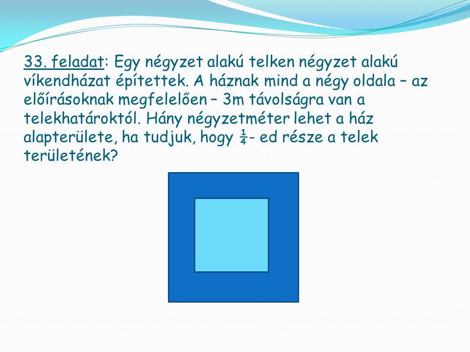 33. feladat: Egy négyzet alakú telken négyzet alakú víkendházat építettek. A háznak mind a négy oldala – az előírásoknak megfelelően – 3m távolságra v