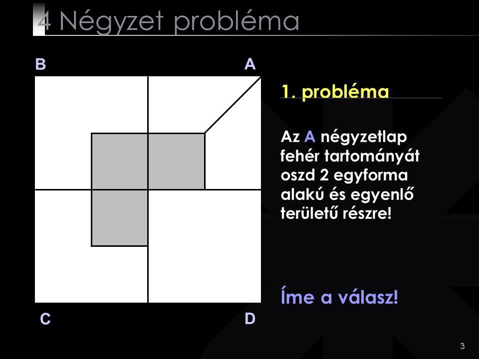 3 B A D C 1. probléma Íme a válasz! 4 Négyzet probléma Az A négyzetlap fehér tartományát oszd 2 egyforma alakú és egyenlő területű részre!