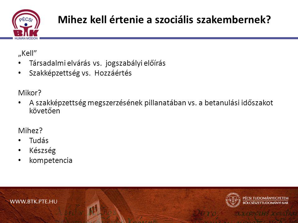 """Mihez kell értenie a szociális szakembernek? """"Kell"""" Társadalmi elvárás vs. jogszabályi előírás Szakképzettség vs. Hozzáértés Mikor? A szakképzettség m"""