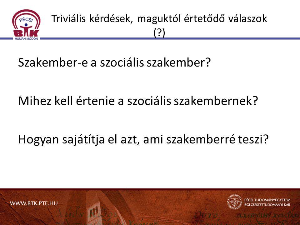 Triviális kérdések, maguktól értetődő válaszok (?) Szakember-e a szociális szakember? Mihez kell értenie a szociális szakembernek? Hogyan sajátítja el