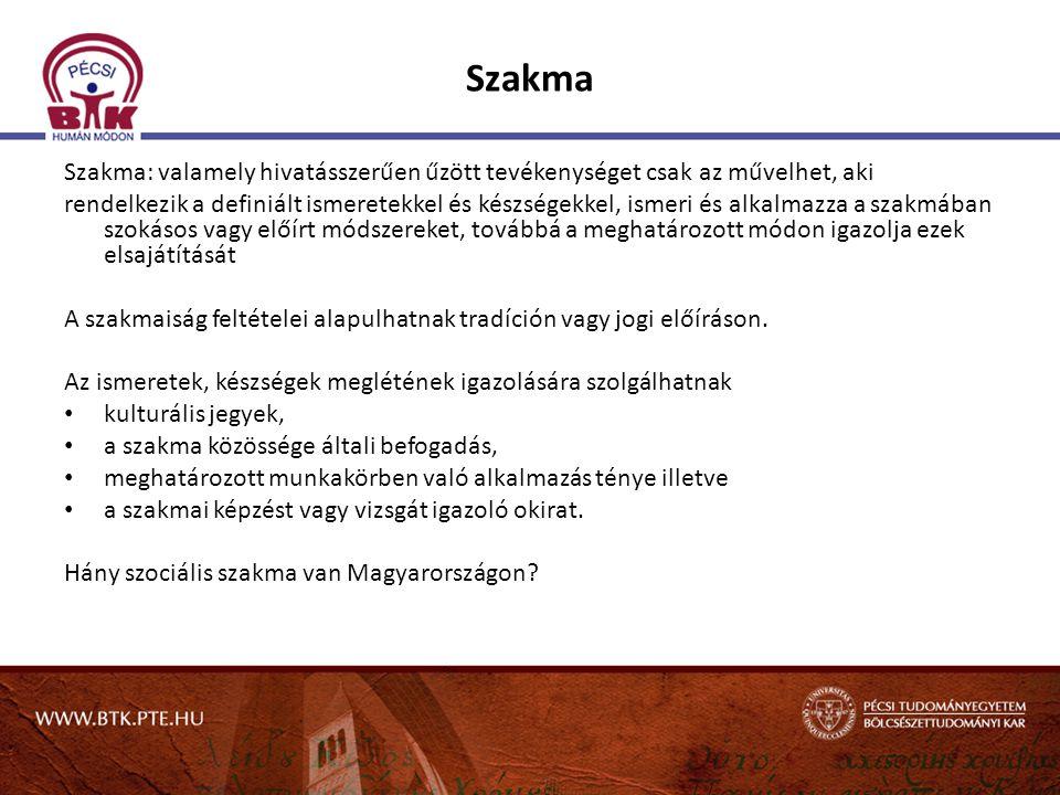 Szakma Szakma: valamely hivatásszerűen űzött tevékenységet csak az művelhet, aki rendelkezik a definiált ismeretekkel és készségekkel, ismeri és alkal