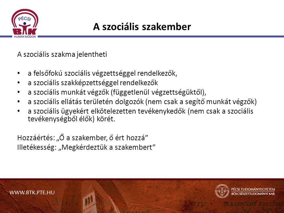 A szociális szakember A szociális szakma jelentheti a felsőfokú szociális végzettséggel rendelkezők, a szociális szakképzettséggel rendelkezők a szoci