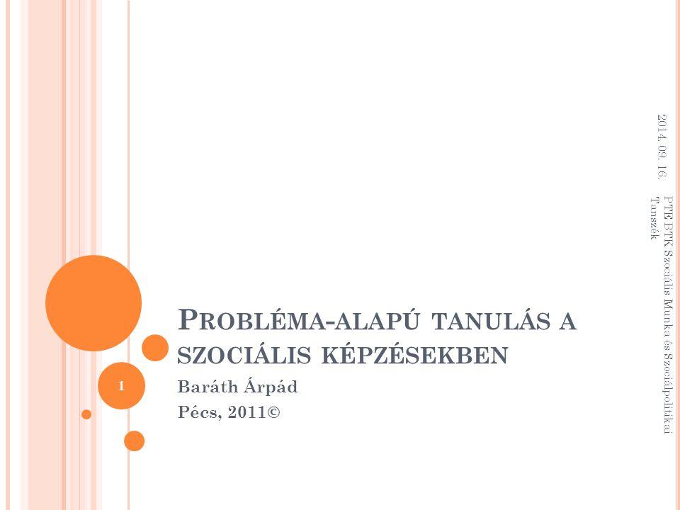 T ARTALOM Az aktív tanulásról (dióhéjban) A probléma-alapú tanulás természetrajza Egy PBL oktatásfejlesztő szeminárium vázlata Források 2014.
