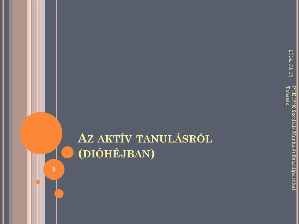 A Z AKTÍV TANULÁSRÓL ( DIÓHÉJBAN ) 2014.09. 16.