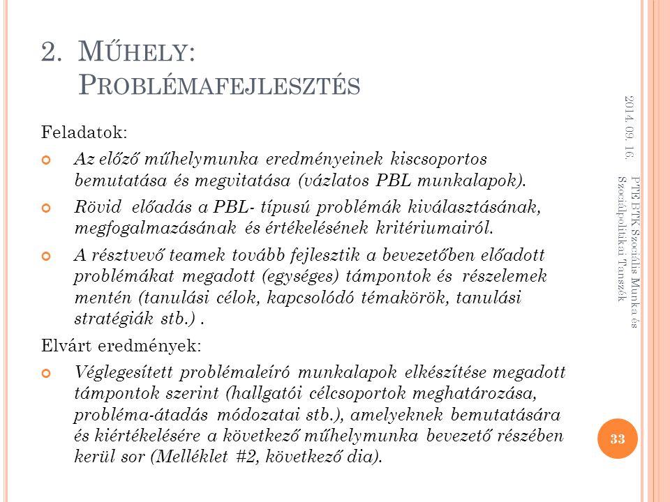 2.M ŰHELY : P ROBLÉMAFEJLESZTÉS Feladatok: Az előző műhelymunka eredményeinek kiscsoportos bemutatása és megvitatása (vázlatos PBL munkalapok).