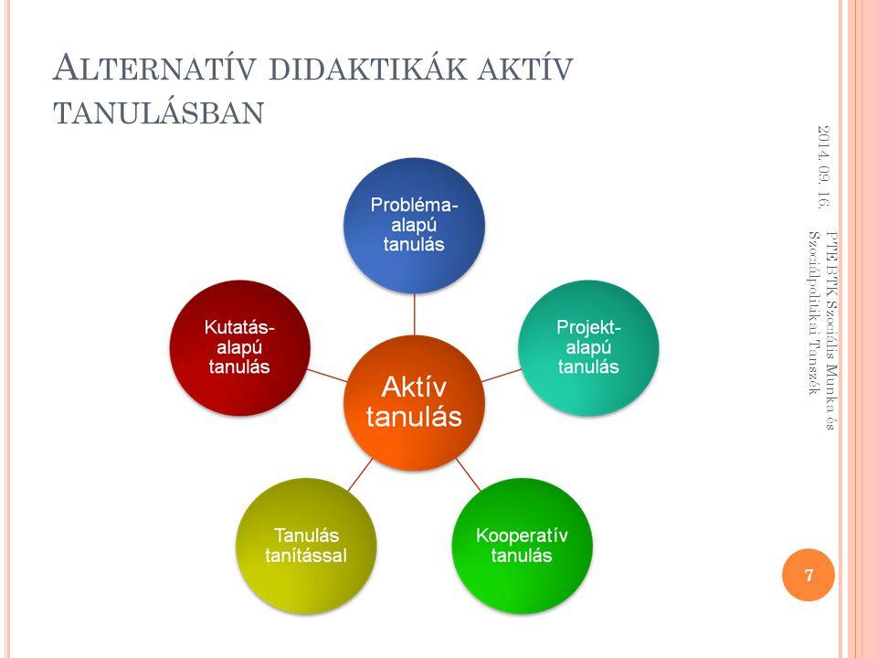 A LTERNATÍV DIDAKTIKÁK AKTÍV TANULÁSBAN 2014.09. 16.