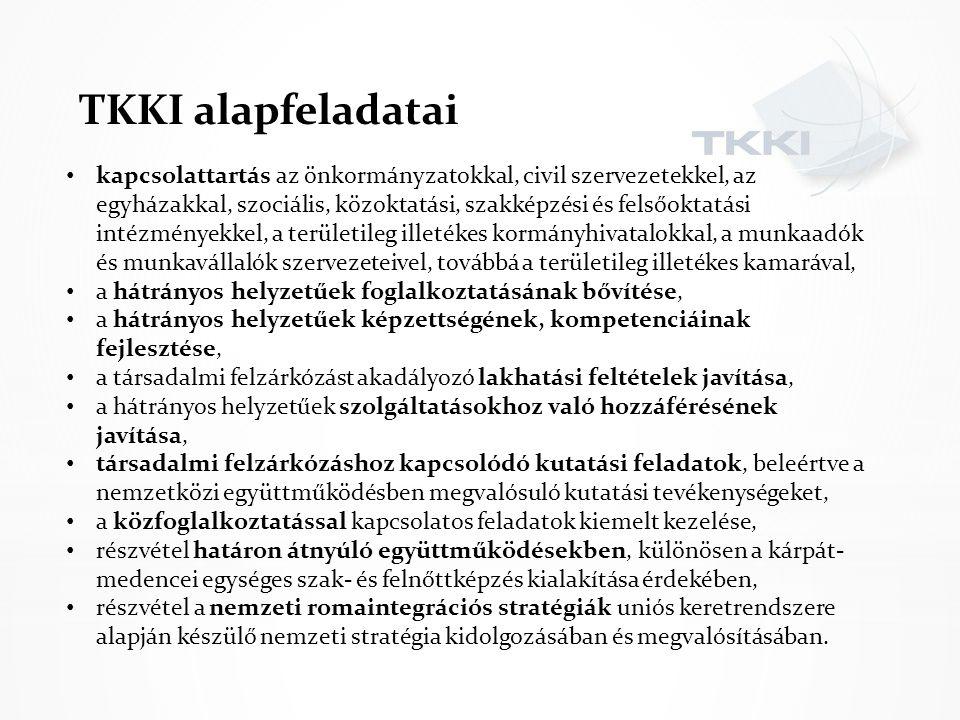 TKKI alapfeladatai kapcsolattartás az önkormányzatokkal, civil szervezetekkel, az egyházakkal, szociális, közoktatási, szakképzési és felsőoktatási in