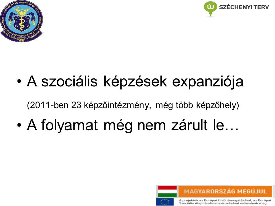 A szociális képzések expanziója (2011-ben 23 képzőintézmény, még több képzőhely) A folyamat még nem zárult le…