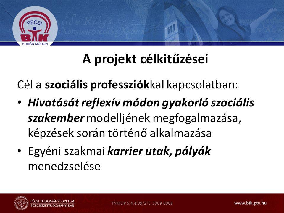 TÁMOP 5.4.4.09/2/C-2009-0008 A projekt célkitűzései Cél a szociális professziókkal kapcsolatban: Hivatását reflexív módon gyakorló szociális szakember