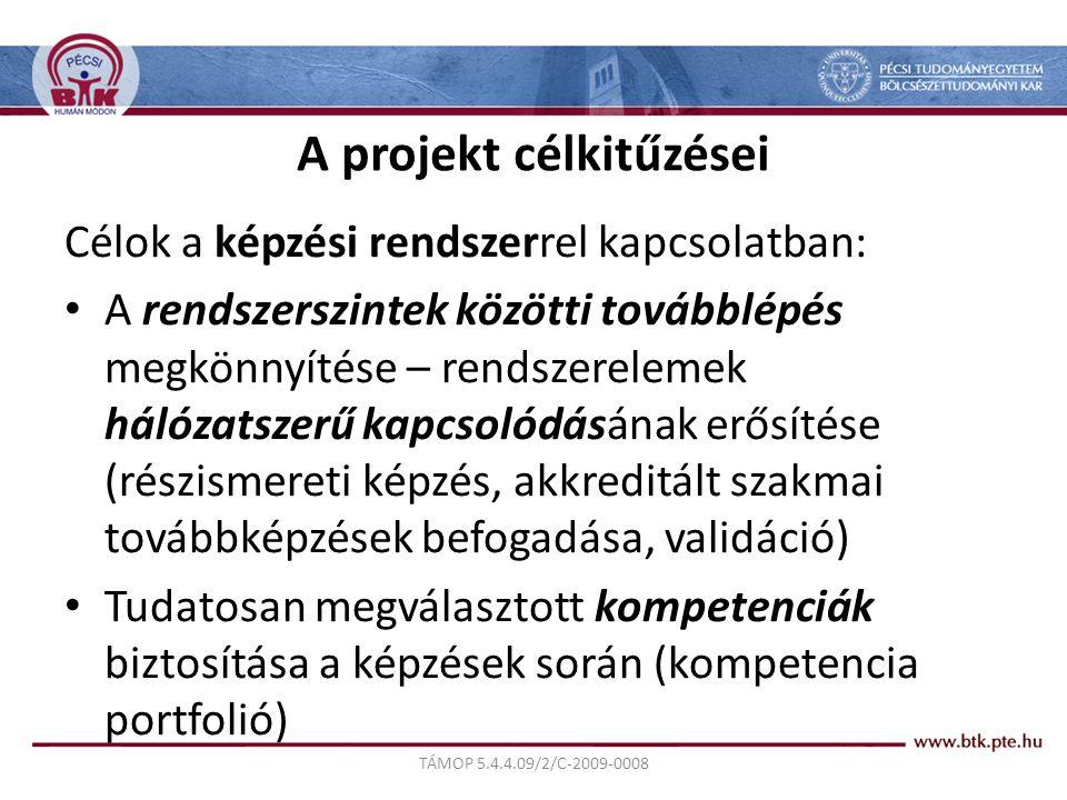 TÁMOP 5.4.4.09/2/C-2009-0008 A projekt célkitűzései Célok a képzési rendszerrel kapcsolatban: A rendszerszintek közötti továbblépés megkönnyítése – rendszerelemek hálózatszerű kapcsolódásának erősítése (részismereti képzés, akkreditált szakmai továbbképzések befogadása, validáció) Tudatosan megválasztott kompetenciák biztosítása a képzések során (kompetencia portfolió)