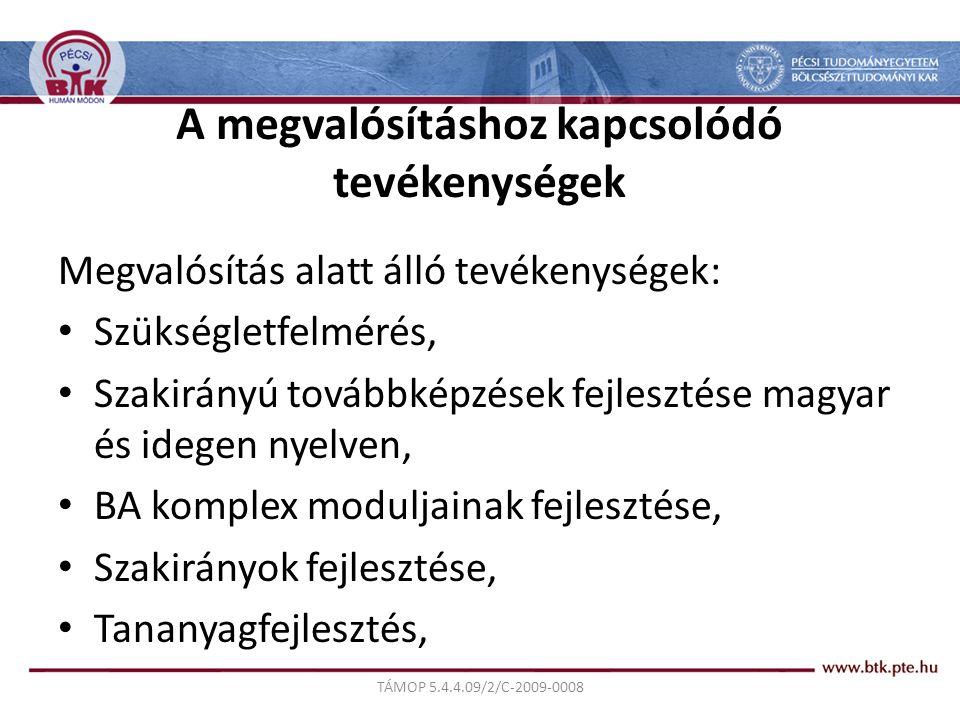 TÁMOP 5.4.4.09/2/C-2009-0008 A megvalósításhoz kapcsolódó tevékenységek Megvalósítás alatt álló tevékenységek: Szükségletfelmérés, Szakirányú továbbképzések fejlesztése magyar és idegen nyelven, BA komplex moduljainak fejlesztése, Szakirányok fejlesztése, Tananyagfejlesztés,