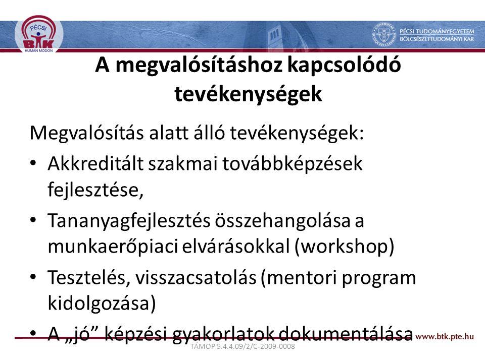 """TÁMOP 5.4.4.09/2/C-2009-0008 A megvalósításhoz kapcsolódó tevékenységek Megvalósítás alatt álló tevékenységek: Akkreditált szakmai továbbképzések fejlesztése, Tananyagfejlesztés összehangolása a munkaerőpiaci elvárásokkal (workshop) Tesztelés, visszacsatolás (mentori program kidolgozása) A """"jó képzési gyakorlatok dokumentálása"""