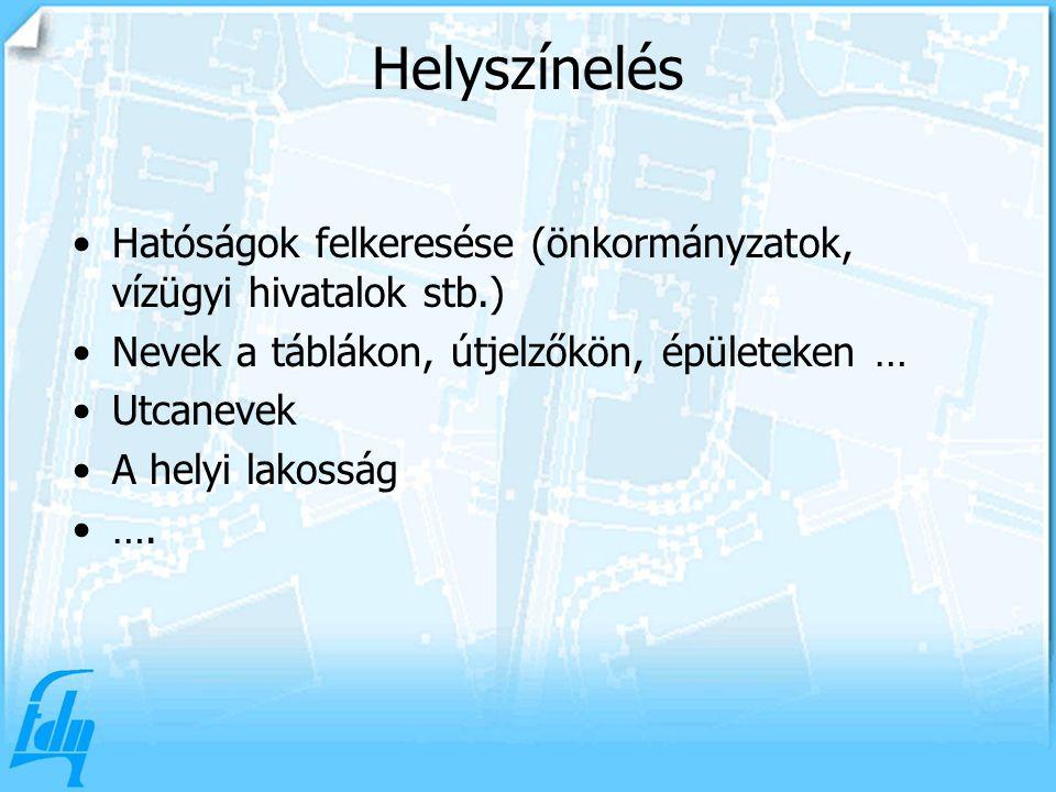 Helyszínelés Hatóságok felkeresése (önkormányzatok, vízügyi hivatalok stb.) Nevek a táblákon, útjelzőkön, épületeken … Utcanevek A helyi lakosság ….