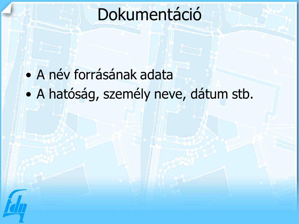 Dokumentáció A név forrásának adata A hatóság, személy neve, dátum stb.
