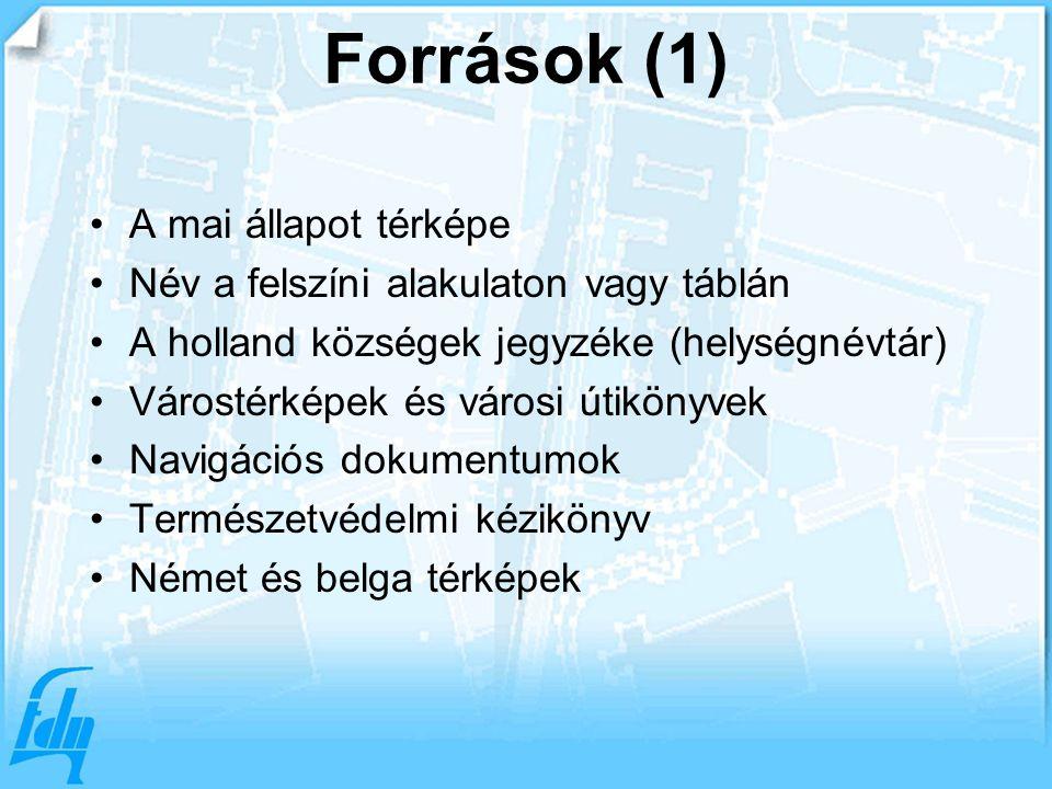 Források (1) A mai állapot térképe Név a felszíni alakulaton vagy táblán A holland községek jegyzéke (helységnévtár) Várostérképek és városi útikönyvek Navigációs dokumentumok Természetvédelmi kézikönyv Német és belga térképek