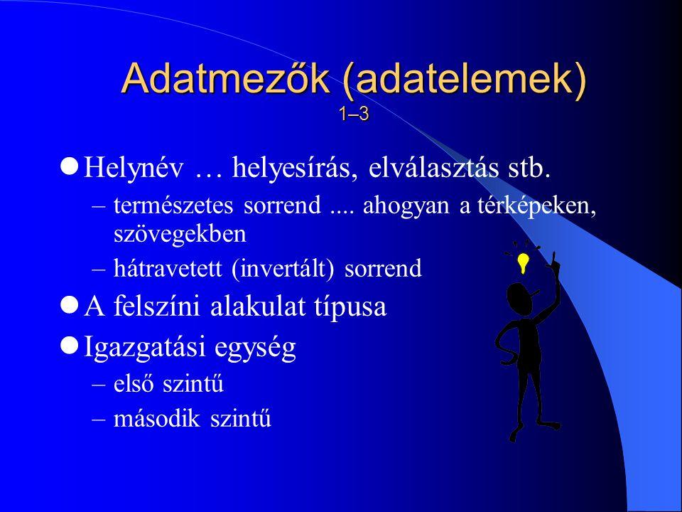 Adatmezők (adatelemek) 1–3 Helynév … helyesírás, elválasztás stb.