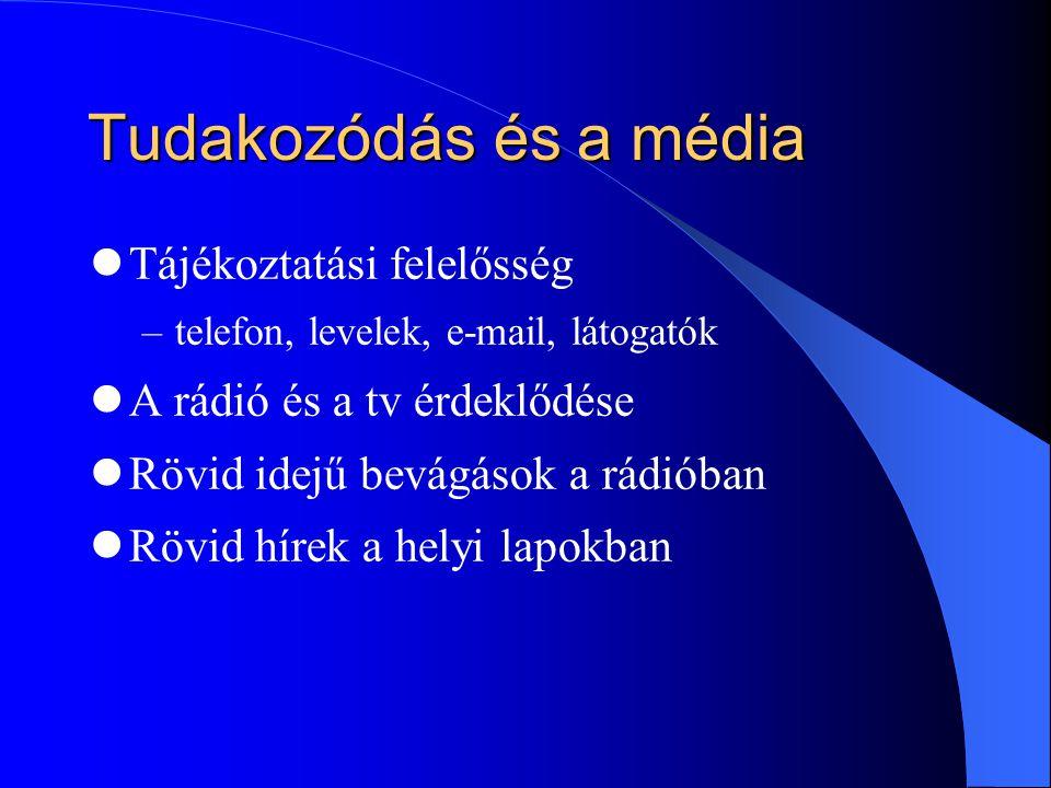 Tudakozódás és a média Tájékoztatási felelősség –telefon, levelek, e-mail, látogatók A rádió és a tv érdeklődése Rövid idejű bevágások a rádióban Rövid hírek a helyi lapokban