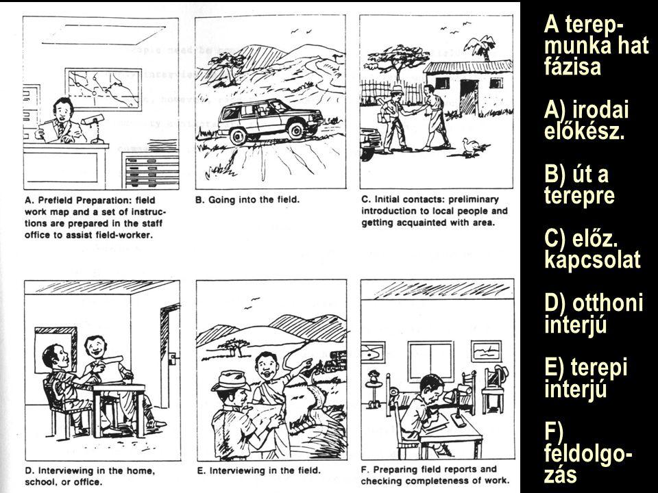 A terep- munka hat fázisa A) irodai előkész. B) út a terepre C) előz. kapcsolat D) otthoni interjú E) terepi interjú F) feldolgo- zás