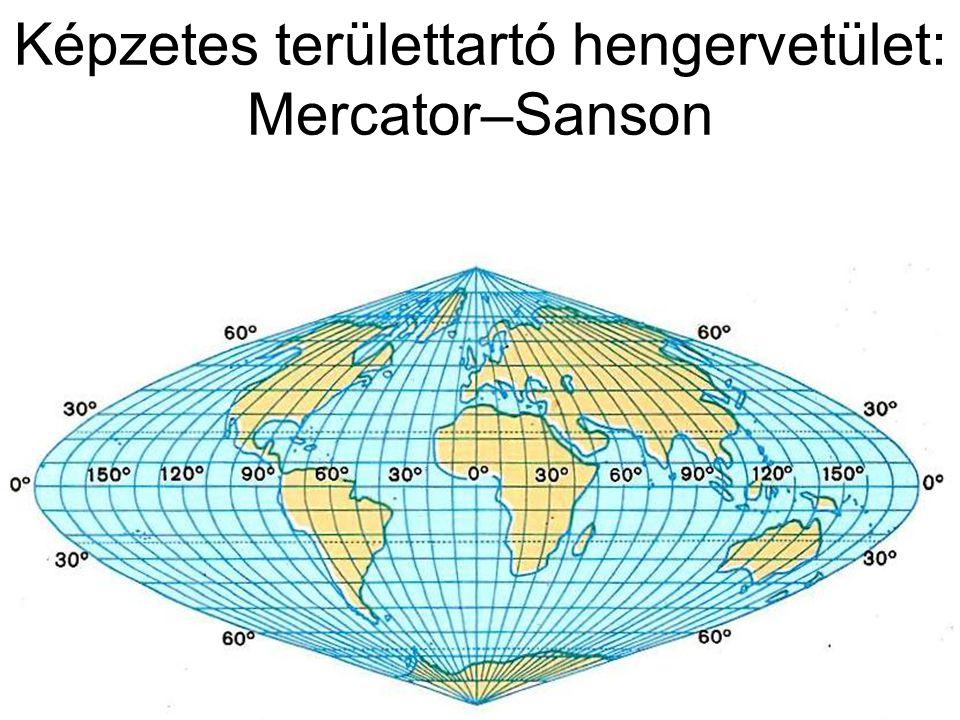 Képzetes területtartó hengervetület: Mercator–Sanson