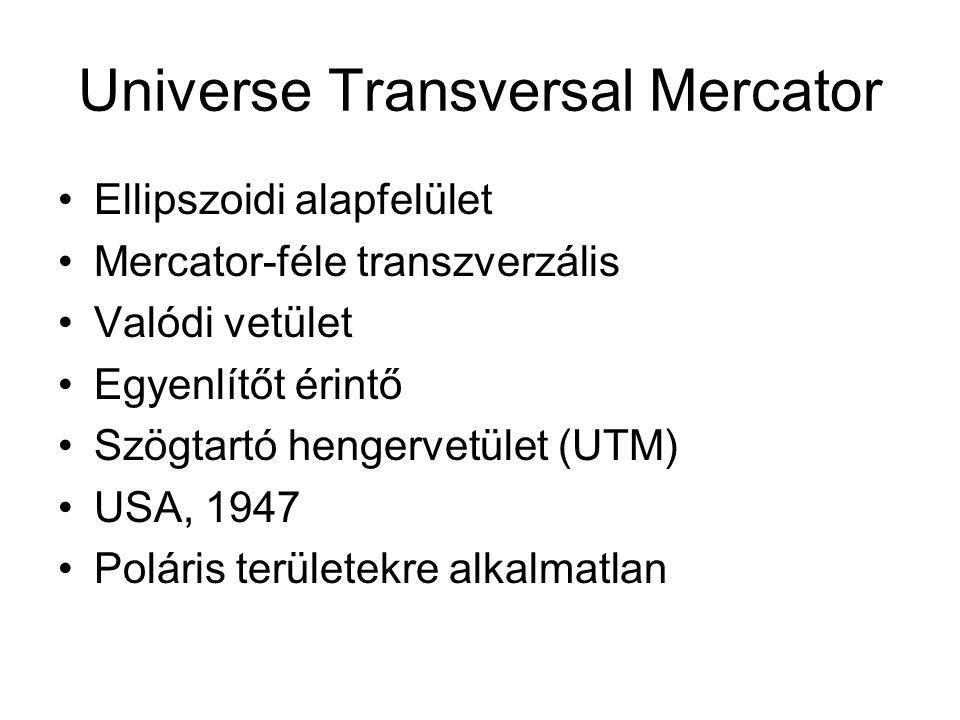 Universe Transversal Mercator Ellipszoidi alapfelület Mercator-féle transzverzális Valódi vetület Egyenlítőt érintő Szögtartó hengervetület (UTM) USA,
