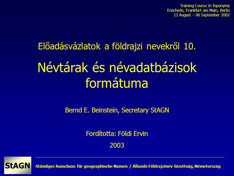 Ständiger Ausschuss für geographische Namen StAGN Hollandia névtára