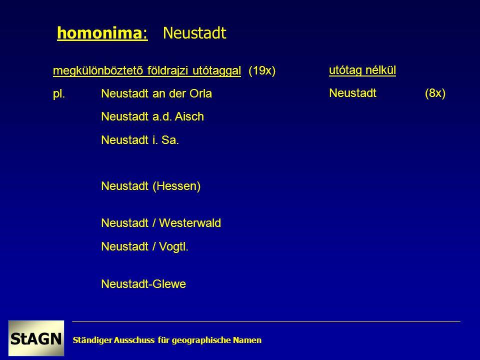 Ständiger Ausschuss für geographische Namen StAGN megkülönböztető földrajzi utótaggal (19x) pl.Neustadt an der Orla Neustadt a.d.