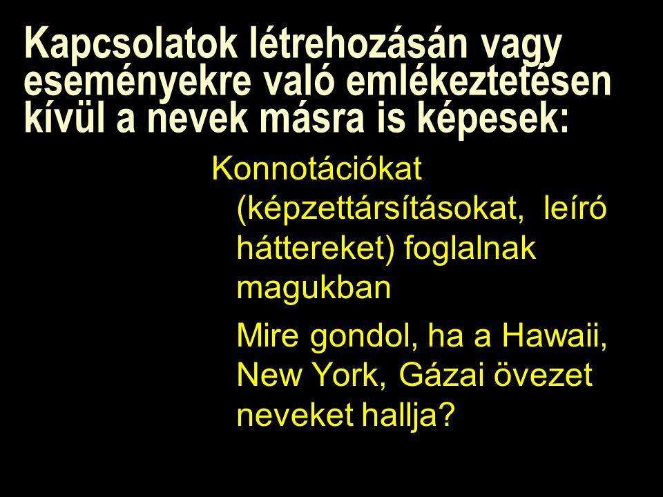 Kapcsolatok létrehozásán vagy eseményekre való emlékeztetésen kívül a nevek másra is képesek: Konnotációkat (képzettársításokat, leíró háttereket) foglalnak magukban Mire gondol, ha a Hawaii, New York, Gázai övezet neveket hallja