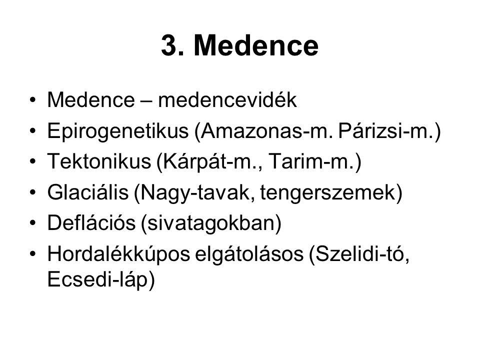 3. Medence Medence – medencevidék Epirogenetikus (Amazonas-m. Párizsi-m.) Tektonikus (Kárpát-m., Tarim-m.) Glaciális (Nagy-tavak, tengerszemek) Deflác