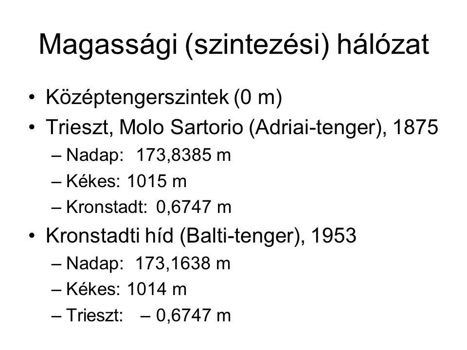 Magassági (szintezési) hálózat Középtengerszintek (0 m) Trieszt, Molo Sartorio (Adriai-tenger), 1875 –Nadap: 173,8385 m –Kékes: 1015 m –Kronstadt: 0,6