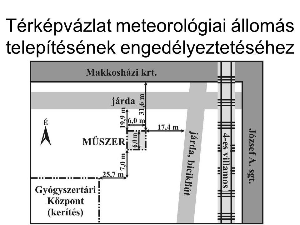 Térképvázlat meteorológiai állomás telepítésének engedélyeztetéséhez