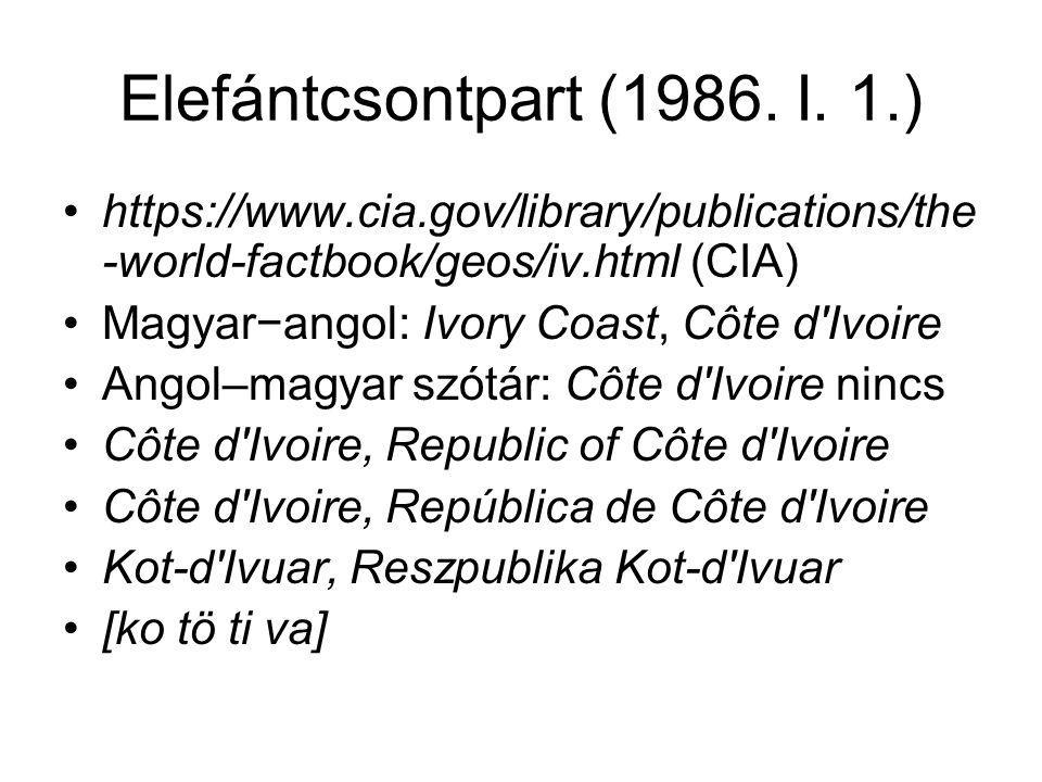 Elefántcsontpart (1986. I. 1.) https://www.cia.gov/library/publications/the -world-factbook/geos/iv.html (CIA) Magyar−angol: Ivory Coast, Côte d'Ivoir