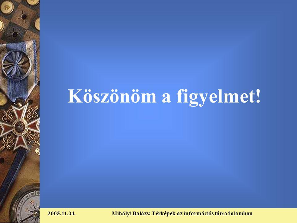 2005.11.04.Mihályi Balázs: Térképek az információs társadalomban Köszönöm a figyelmet!