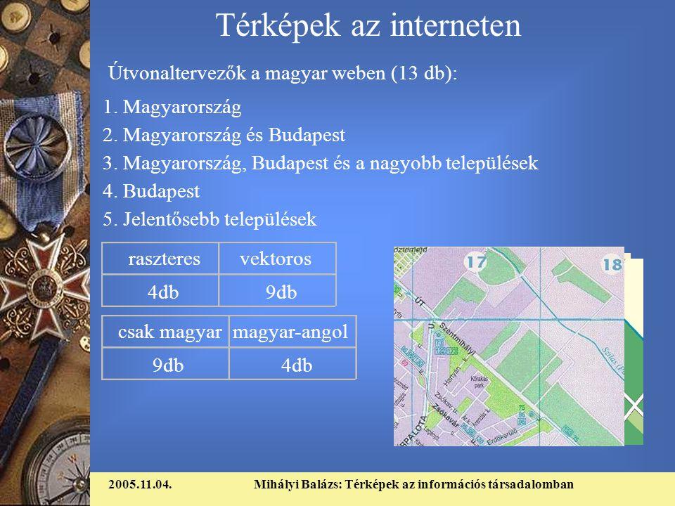 2005.11.04.Mihályi Balázs: Térképek az információs társadalomban Térképek az interneten Útvonaltervezők a magyar weben (13 db): 1.
