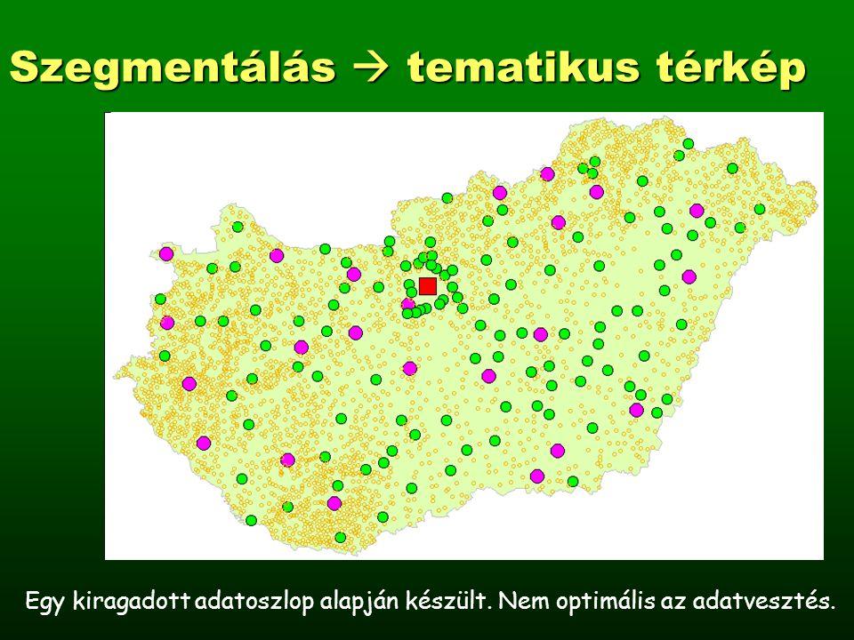 Szegmentálás  tematikus térkép Egy kiragadott adatoszlop alapján készült.
