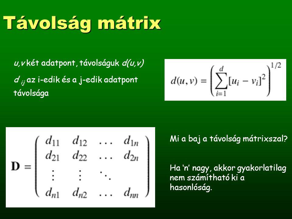 Távolság mátrix u,v két adatpont, távolságuk d(u,v) d ij az i-edik és a j-edik adatpont távolsága Mi a baj a távolság mátrixszal.