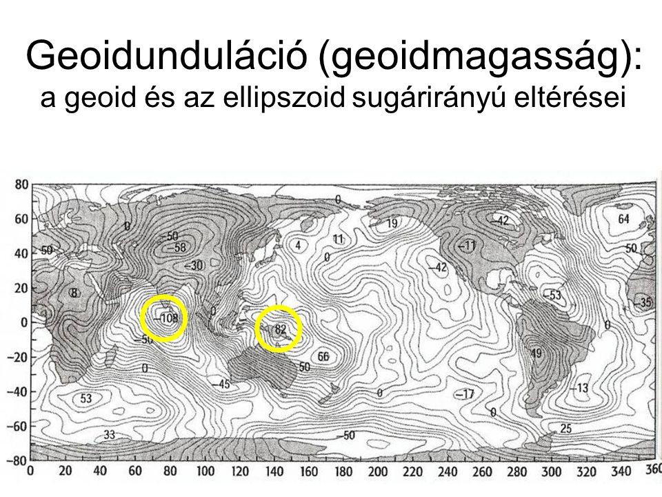 Geoidunduláció (geoidmagasság): a geoid és az ellipszoid sugárirányú eltérései  
