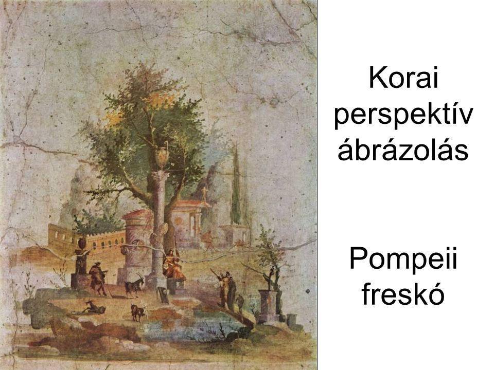 Korai perspektív ábrázolás Pompeii freskó