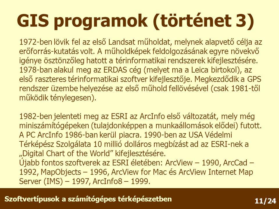 Szoftvertípusok a számítógépes térképészetben 11/24 GIS programok (történet 3) 1972-ben lövik fel az első Landsat műholdat, melynek alapvető célja az erőforrás-kutatás volt.