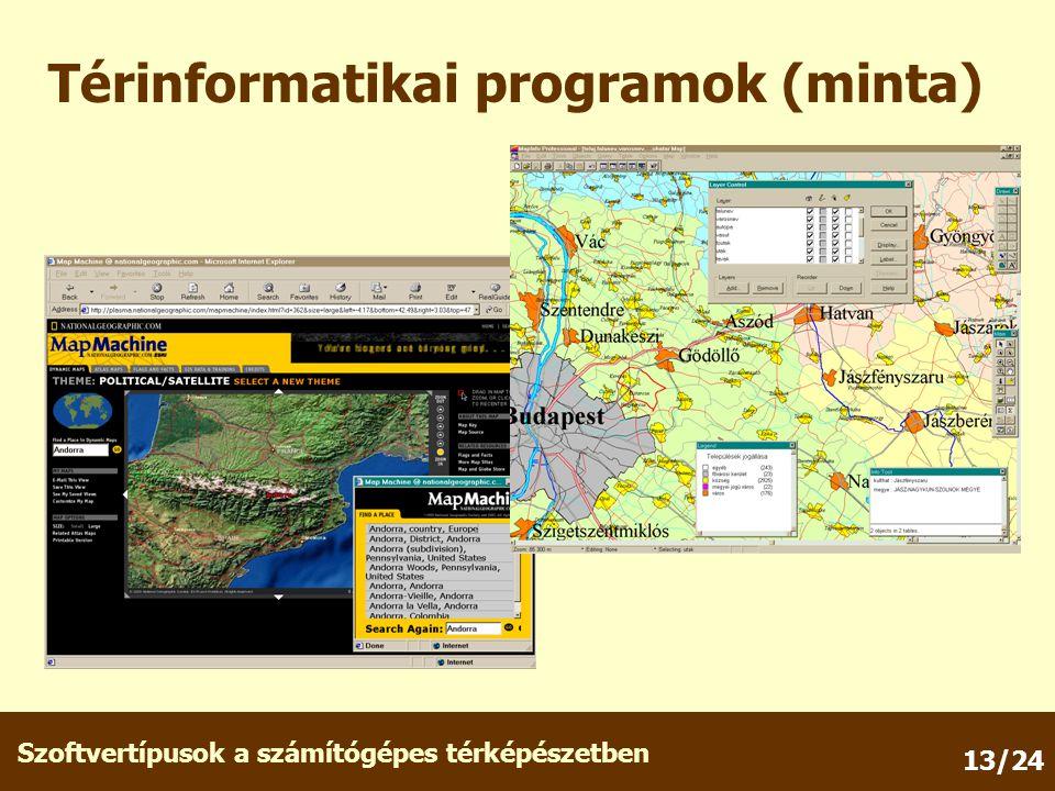 Szoftvertípusok a számítógépes térképészetben 13/24 Térinformatikai programok (minta)