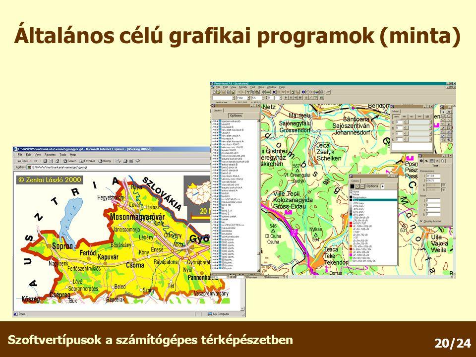 Szoftvertípusok a számítógépes térképészetben 20/24 Általános célú grafikai programok (minta)