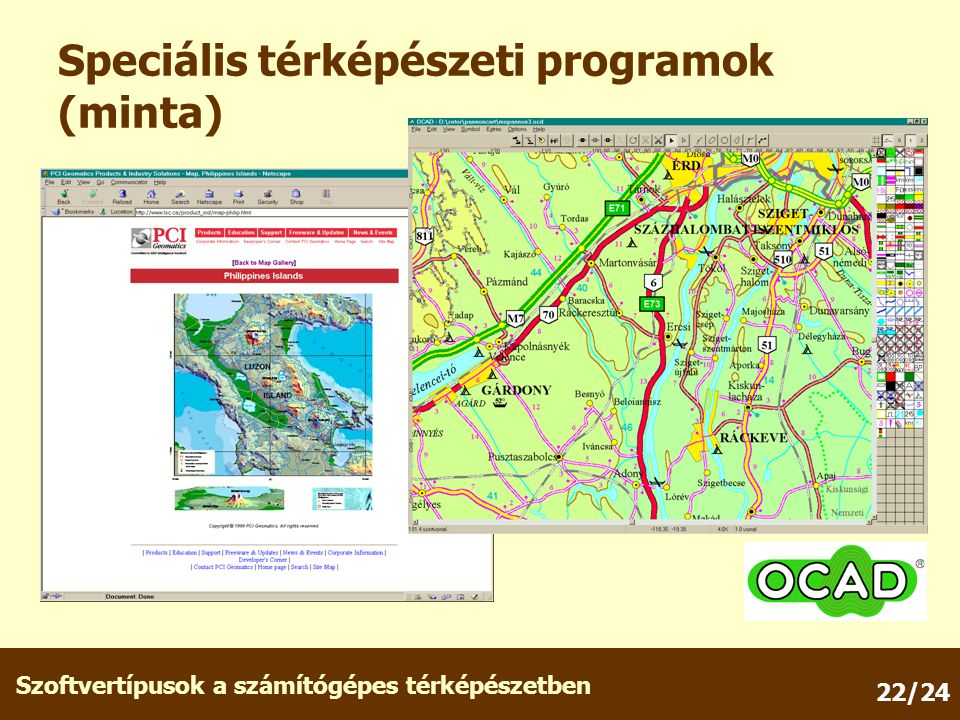 Szoftvertípusok a számítógépes térképészetben 22/24 Speciális térképészeti programok (minta)