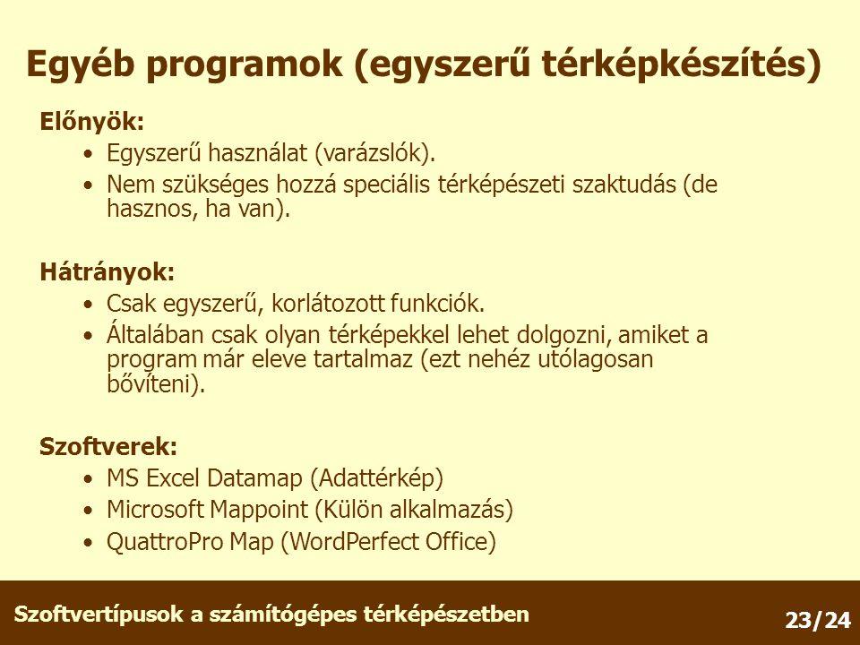 Szoftvertípusok a számítógépes térképészetben 23/24 Egyéb programok (egyszerű térképkészítés) Előnyök: Egyszerű használat (varázslók).