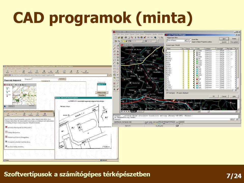 Szoftvertípusok a számítógépes térképészetben 7/24 CAD programok (minta)