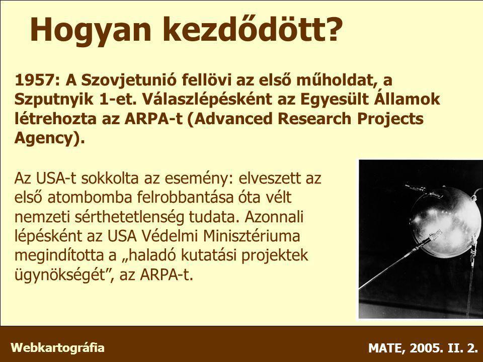 Webkartográfia MATE, 2005. II. 2. 1957: A Szovjetunió fellövi az első műholdat, a Szputnyik 1-et.